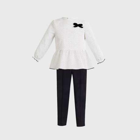 Conjunto Niña Topitos Blanco